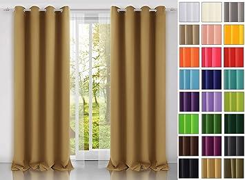 Rollmayer modern Vorhang (Beige 3) Schal mit Ösen 140x250 cm ...