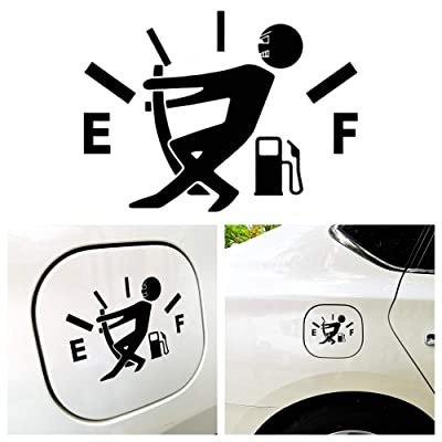 Goodream 1 Pcs Funny Car Stickers, Pull Fuel Tank Pointer to Full, Reflective Vinyl Car Decal Stickers, Car Styling Decoration for Car Accessories(Black): Automotive