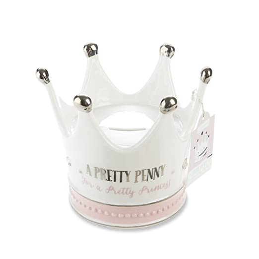 Baby Aspen Little Ceramic Crown Bank, White/Silver/Pink, Princess