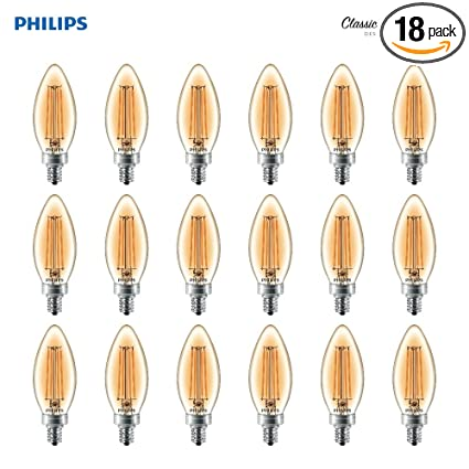 Philips LED B11 Dimmable Candle Light Bulb with Warm Glow Effect: 180-Lumen,
