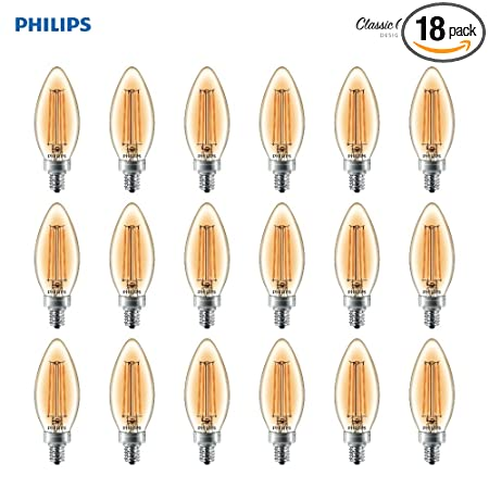 Philips LED B11 Dimmable Candle Light Bulb with Warm Glow Effect: 180-Lumen, 2700-2200 Kelvin, 2.5-Watt (25-Watt Equivalent) Glass Candle Light Bulb, ...