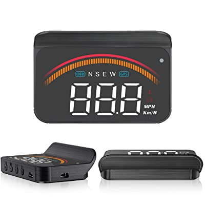 "Car Head Up Display,ACECAR 3.5"" Upgraded Car Universal Dual Mode HUD OBD II/GPS Interface Speedometer Compass Vehicle Speed Engine RPM OverSpeed Warning Mileage Measurement Compatible for All Vehicles: Car Electronics"