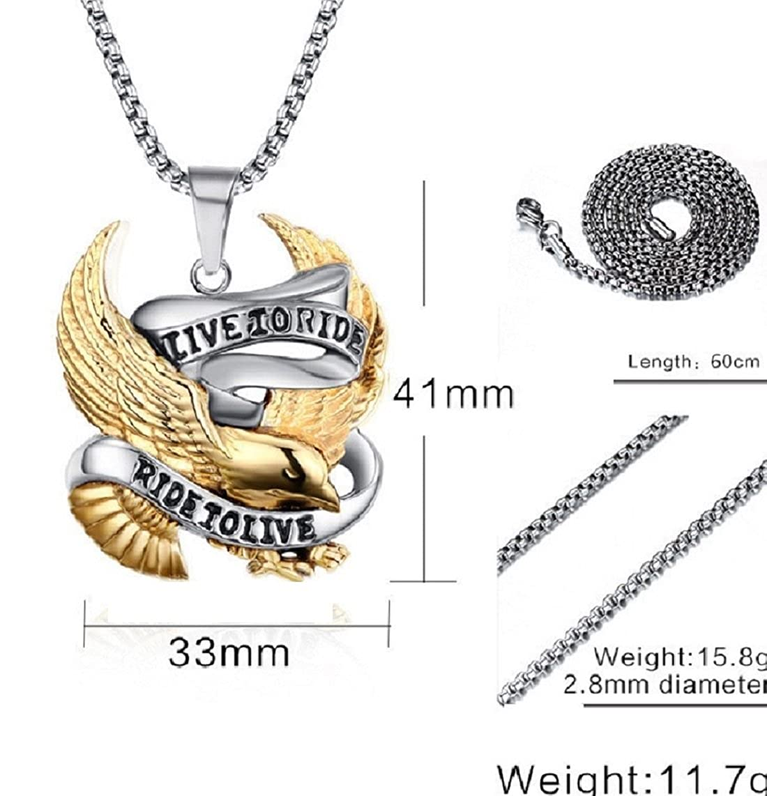 Live to Ride Biker Pendant Necklace (Box Chain) FAT CAT SALES live to ride neck
