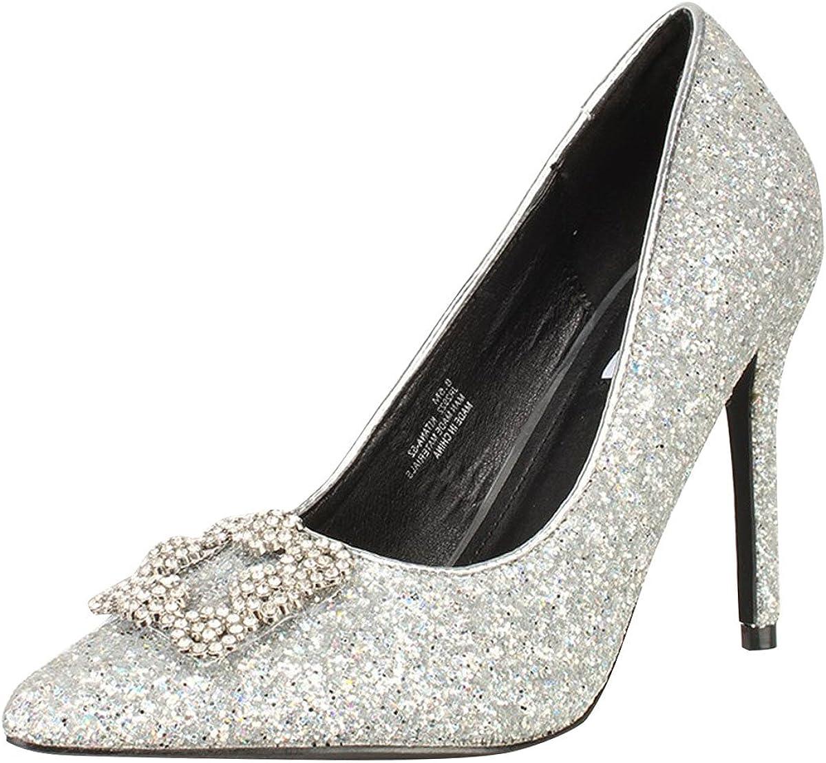 Women Shoe Cape Robbin Kitana 25 Closed Toe Buckle Embellished Pump Denim  *New*