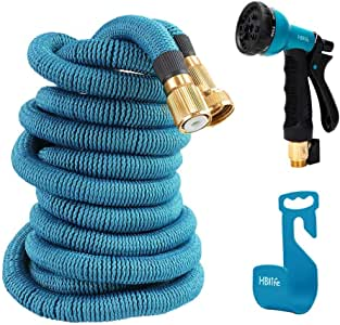 HBlife 50 ft Expandable Garden Water Hose with 8 Spray Pattern Nozzle, Hose Hanger & Storage Bag