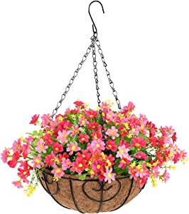 INQCMY Artificial Hanging Flowers in Basket for Patio Lawn Garden Decor,12 inch Coconut Lining Hanging Baskets with Artificial Daisy Flowers for The Decoration of Outdoors and Indoors (Pink)