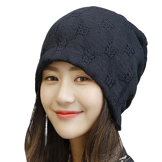 f7d407678da Kafeimali Womens Slouch Large Big Beanie Baggy Hat Knit Warm Winte Soft Cap  (Black)