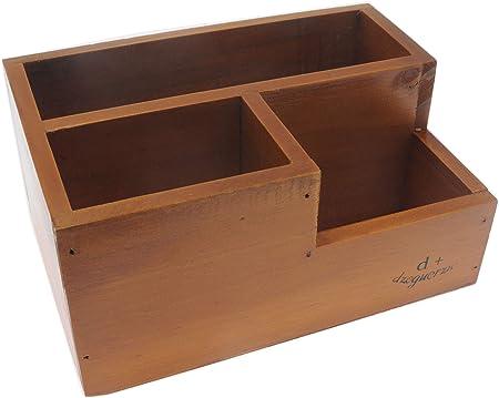 Organizador de madera para escritorio, color antiguo/mando a distancia, caja de madera para escritorio, suministros de oficina, hogar, mesa auxiliar, 20 x 14 x 9.6 cm: Amazon.es: Hogar