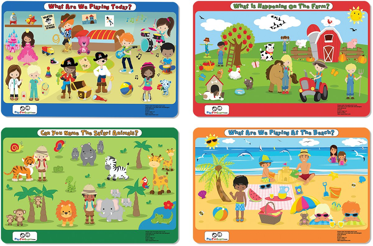 Childrens placemats. Set of 4. Playroom, Beach, Farm, Safari. Inspiring, Fun and Engaging. Powering Your Childs Imagination.
