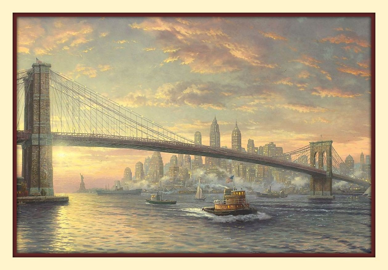 Amazon.com: Brooklyn Bridge Thomas Kinkade 11 X14 Double Matted 8x12 ...