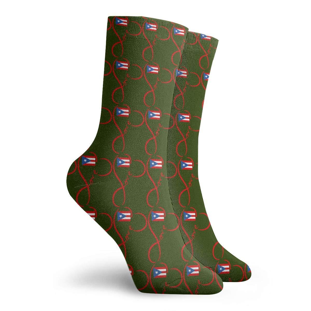 Love Puerto Rico Flag Boricua Puerto Rican Map 3D Socks Unisex Novelty Crew Sock Low Socks Athletic Socks