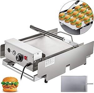 VBENLEM Hamburger Toaster 110V 2200W Electric Hamburger Toaster Machine 12 Hamburgers Per Time Double-Plates Bun Toaster Commercial Hamburger Making Machine 50-300℃ Ideal For Bread Heating