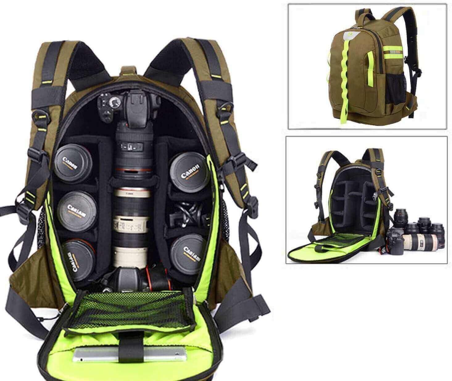 Abonnyc DRLBP-CZ Waterproof Anti-shock Backpack for DSLR and SLR Cameras (Green)