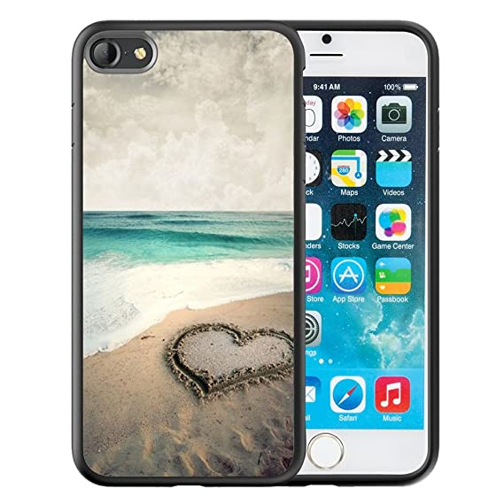 promo code 13f74 7f128 iPhone 6S Plus Case, Customized Black Soft Rubber iPhone/Apple 6/6S Plus  Case Beautiful beach with love