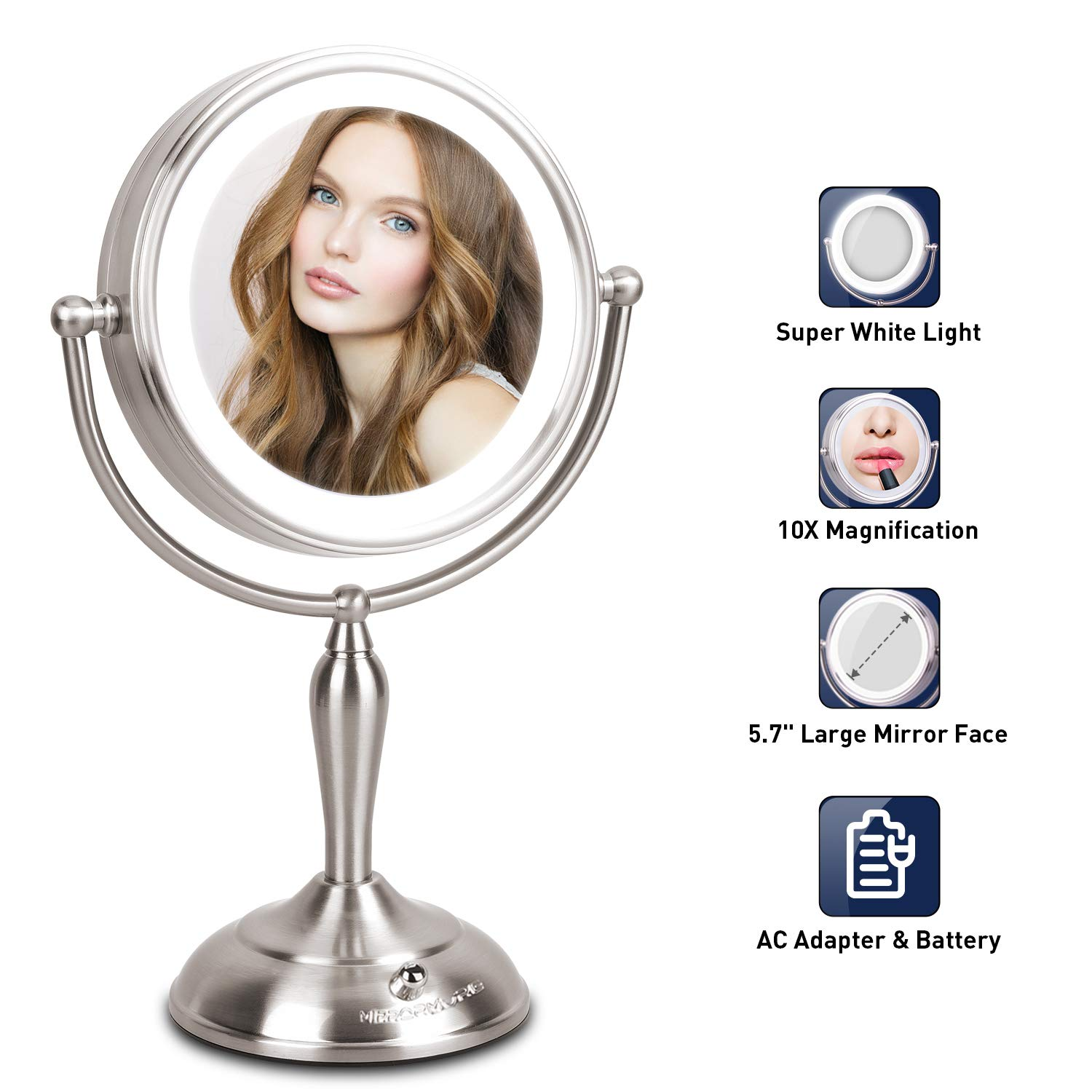 MIRRORMORE Lighted Makeup Mirror - 7.5 Inch Lighted Vanity Mirror, 1x/10x Magnifying Double Sided Mirror With Stand, AC Adapter Or Battery Operated, Natural White Light, Cord Or Cordless by MIRRORMORE