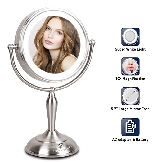 LED Makeup Mirror - 7.5 Inch Lighted Vanity Mirror, 1x/10x Magnifying Double Sided Mirror With Stand, AC Adapter Or Battery Operated, Natural White Light, Cord Or Cordless best LED vanity mirrors