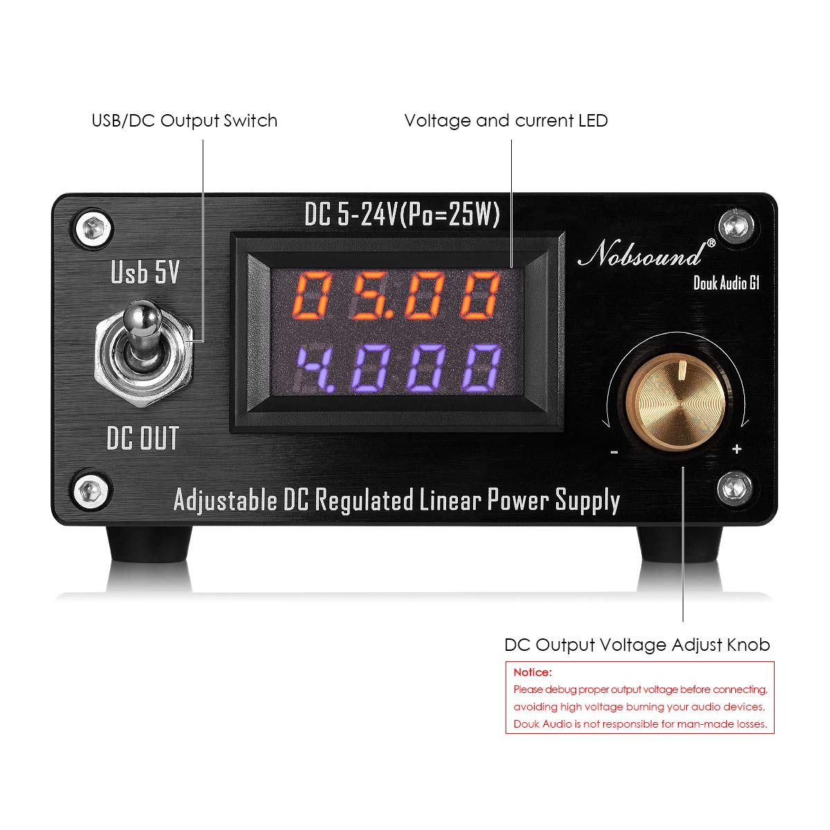 Nobsound 25w Usb Dc5v 24v Adjustable Dc Regulated Elektronik Linear Power Supply