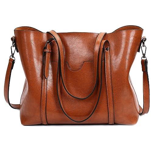 Sacs à main dames, fourre-tout sac femmes sac de travail en cuir épaule quotidienne Top poignée sacoche sac bandoulière commute sac Hobo (marron)