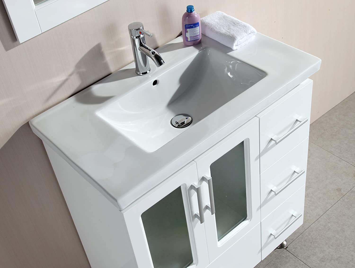 Design Element Stanton Single Drop In Sink Vanity Set With White Finish,  32 Inch     Amazon.com