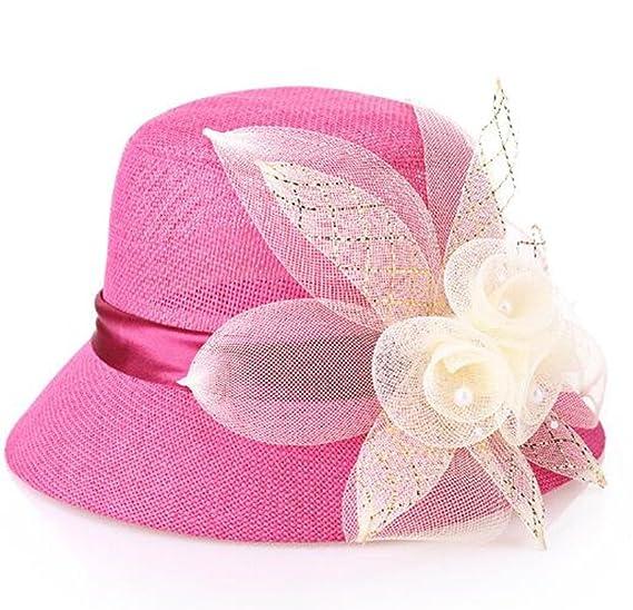 71968b8c870 Women Bucket Sun Flax Summer Beach Hat Cloche Travel Boonie Top (Blue) at  Amazon Women s Clothing store