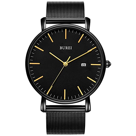 BUREI Relojes para Hombres Cuarzo Minimalista Negro Ultra Fino con indicador de Fecha y Brazalete milanés