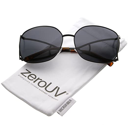 2ccf72401ba3 zeroUV - Women s Open Metal Arms Square Colored Lens Oversize Sunglasses  65mm (Black Smoke