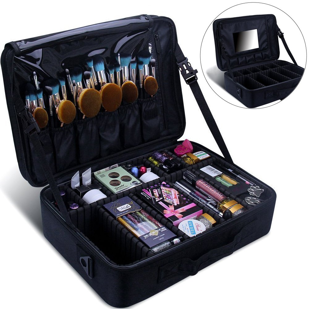 Relavel Makeup Train Case with Mirror 3 Layer Large Size Professional Cosmetic Organizer Make Up Artist Box with Adjustable Shoulder (Large Black with Mirror) by Relavel