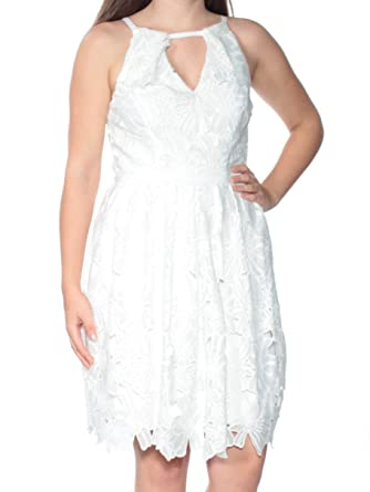 784d6ba50d55 Image Unavailable. Image not available for. Color: Adrianna Papell $259  Womens New 1312 White Floral Fit + Flare Dress ...