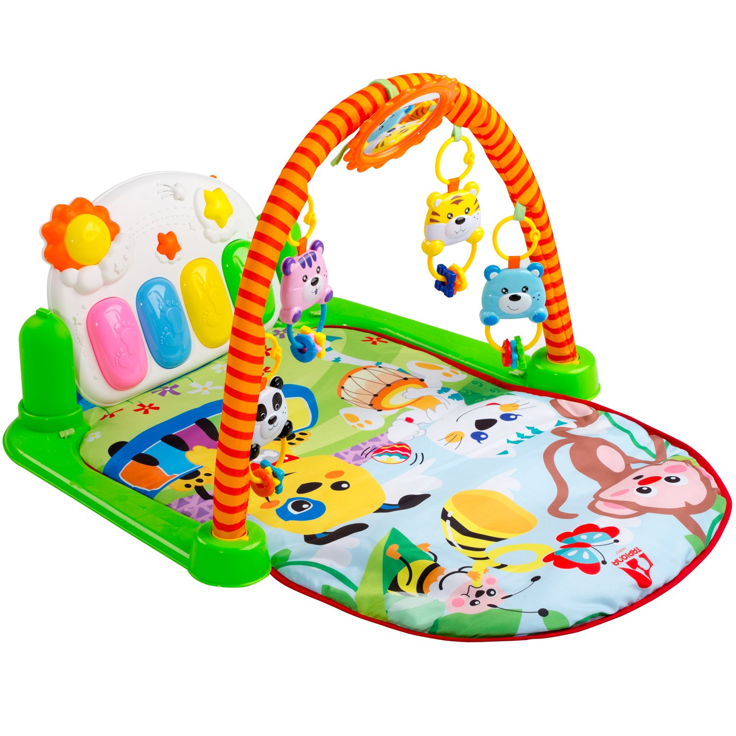 Tapiona Baby Activity Play Gym - Kick and Play Baby Mat, Baby Toys 0-3, 3-6 Months and Mirror, Boy and Girl Newborn Gift, Lay and Play, Sit and Play, Tummy Time