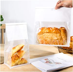 Bakery Bags with Window Kraft Paper Bags 25pcs 11x 8.5X 4.3 Inches Tin Tie Tab Lock Bags Brown Window Bags Cookie Bags, Coffee Bags,Bread Bags,Treat Bags, Glassine Popcorn Bags for Storing Foods
