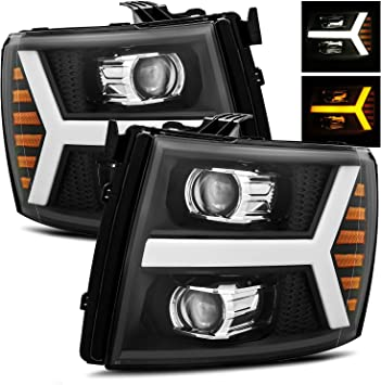 SIGNAL BUMPER LAMP+HEADLIGHT BLACK HOUSING+LED FOG LIGHT FITS 07-13 SILVERADO