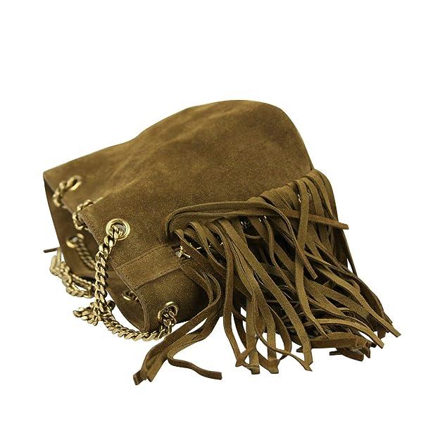 def0eba332f Yves Saint Laurent Emmanuelle Brown Suede Fringe Bucket Bag 434594 7735:  Handbags: Amazon.com