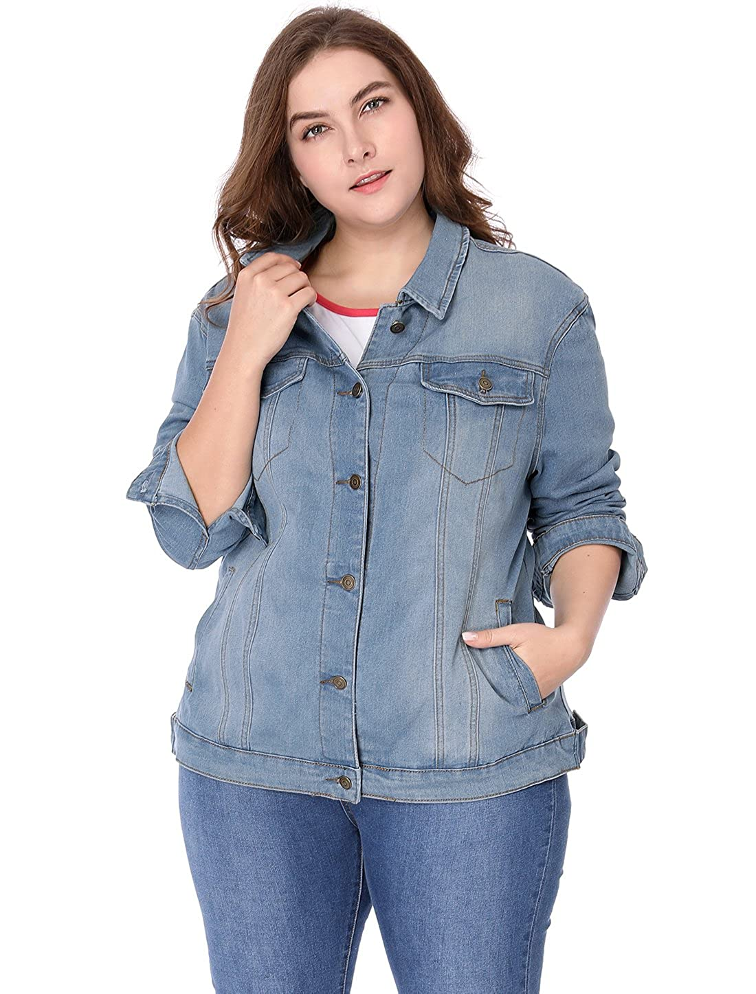 uxcell Womens Plus Size Button Down Washed Denim Jacket Chest Flap Pocket g16060200ux0003