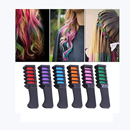 Ai Life Hair Spray Chalk Comb Temporary Hair Color Dye Comb For Girls Party Cosplay 6 Color Amazon Co Uk Kitchen Home