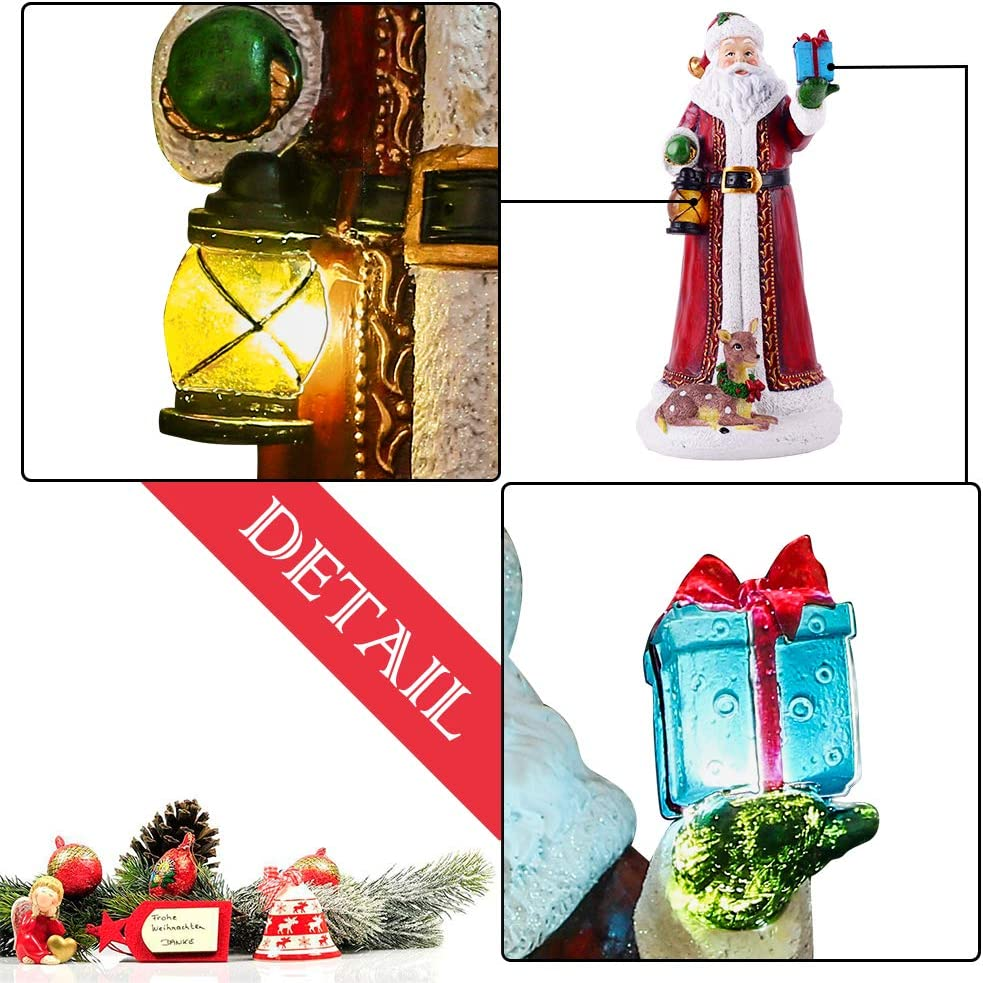 Valery Madelyn 12 Polyresin Christmas Santa Claus Figurines Decoration with LED Lights Themed with Classic Collection Splendor Christmas Ornaments