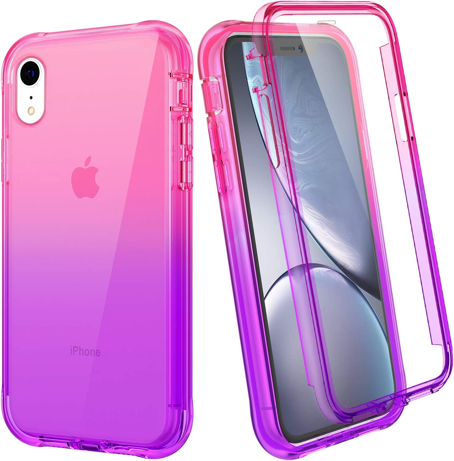"""Ruky iPhone XR Case, iPhone XR Case for Girls, Full Body Rugged Cover with Built-in Screen Protector Heavy Duty Shockproof Soft TPU Protective Clear Women Girls Cases for iPhone XR 6.1"""", Pink Purple"""