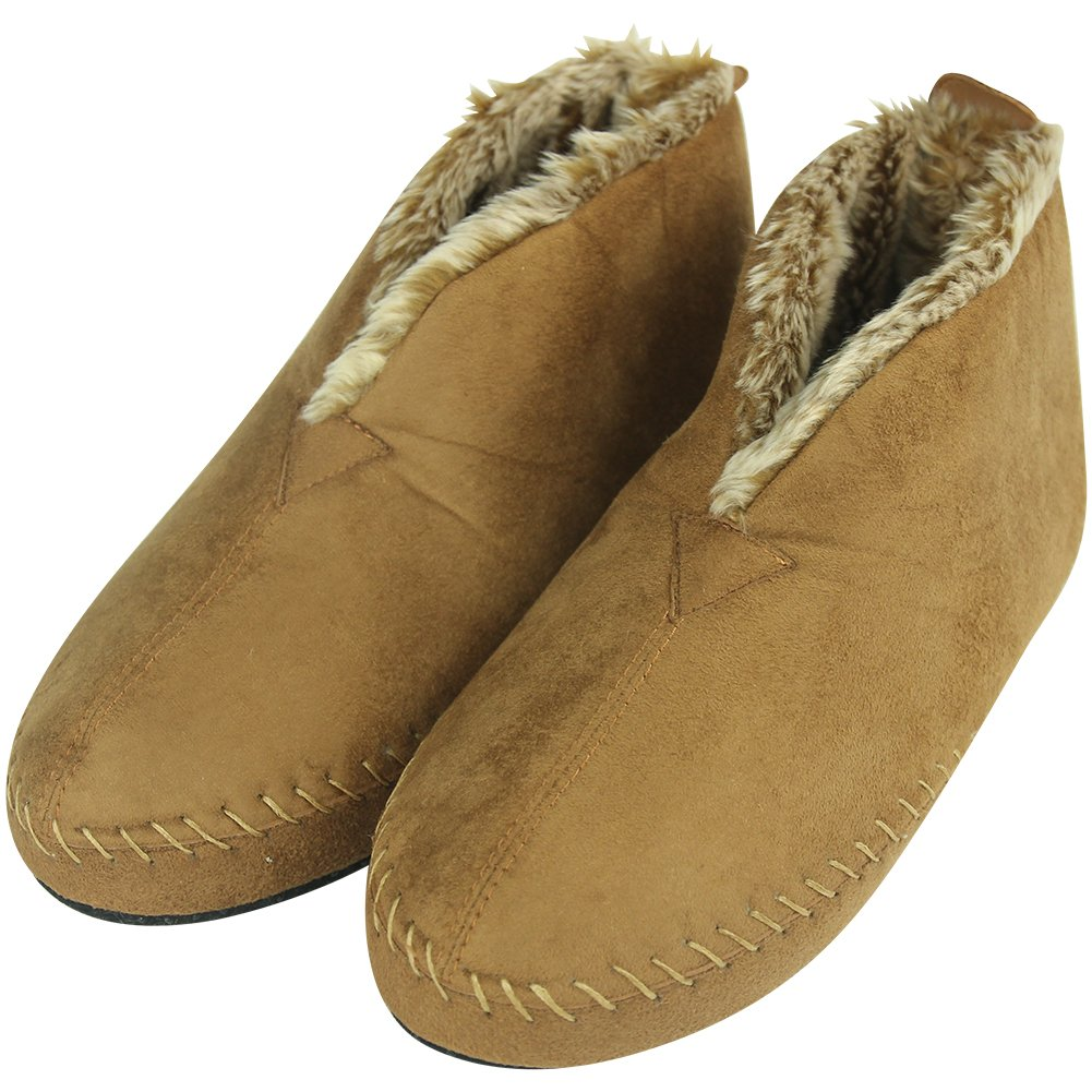 Forfoot Unisex Women's Men's Girl's Boy's Plush Lining Suede Indoor Anti-Skid Winter Ankle Boot Slippers House Chestnut Small