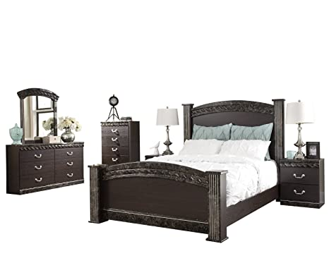 Amazon.com: Ashley Vachel 6PC E King Poster Bedroom Set With ...