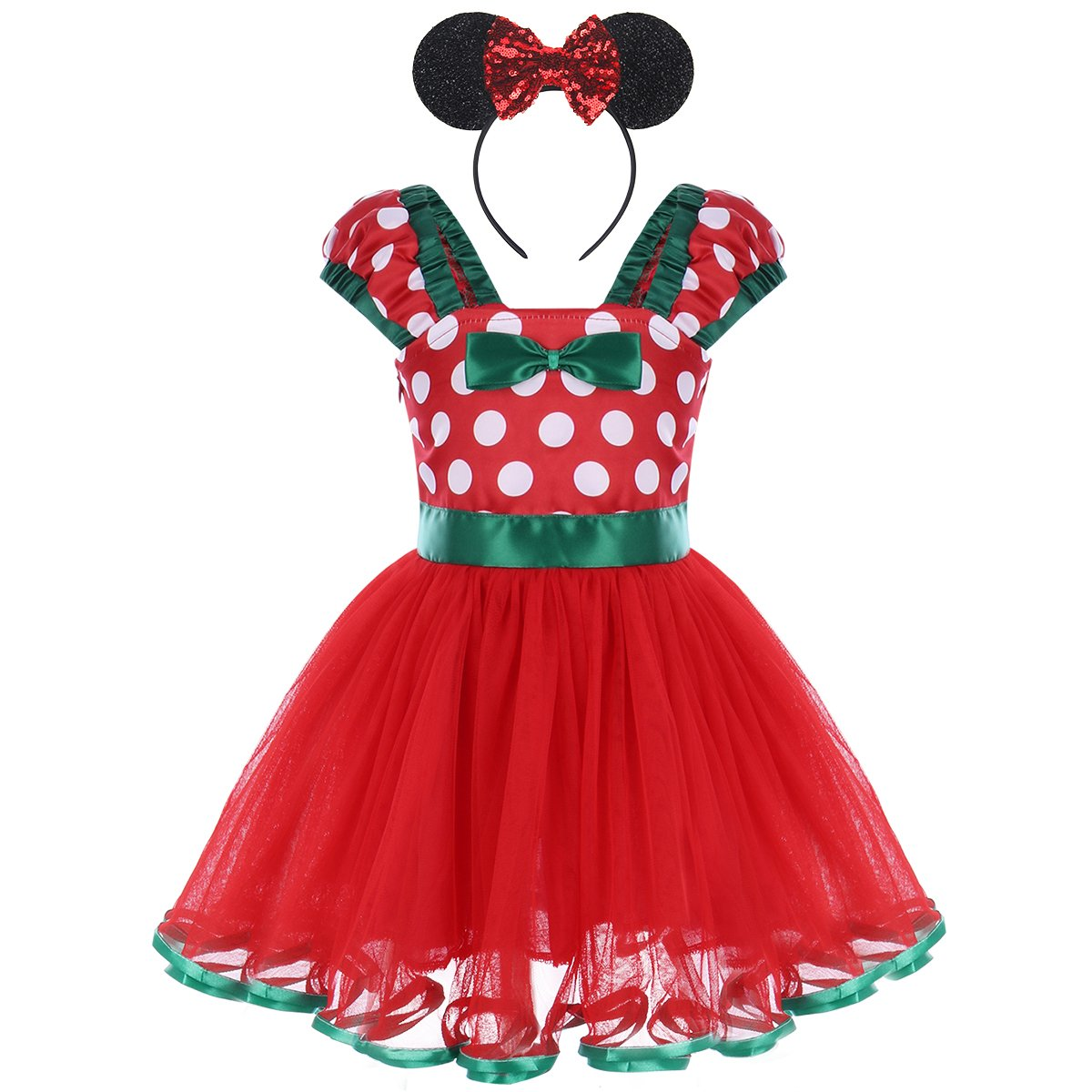 Baby Girls Minnie Polka Dots Princess Ballet Tutu Dress Birthday Party Pageant Dress up Costume Outfits with Headband Y# Red+Sequined Headband 4-5 Years