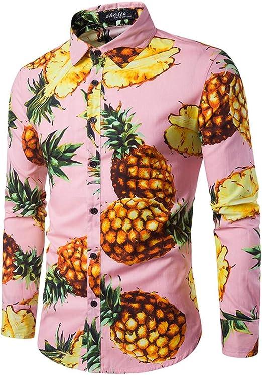 Quisilife-Mcloth - Camisa de Vestir Informal para Hombre, Estilo Complejo, de piña, Cuello Redondo, Manga Larga, con Botones, para Banquetes, Discotecas, Fiestas, Camisetas con Botones: Amazon.es: Hogar