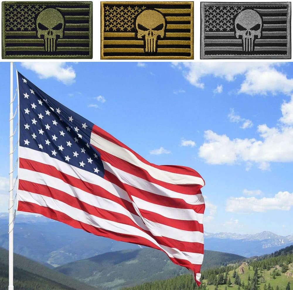 Military USA United States of America Uniform Emblem Patches Brown 2 Pieces Tactical US American Flag Patch