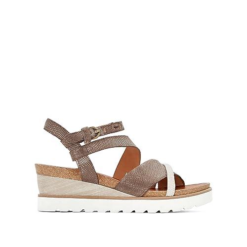 f1919f14a95 La Redoute - Sandalias de vestir de Piel para mujer blanco White Taupe   Amazon.es  Zapatos y complementos