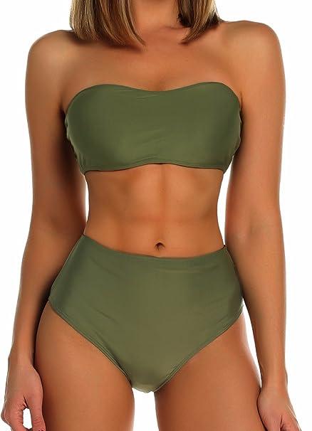 a789af3b9774d FITTOO Women's Padded Bikini Set Plain Bandeau Top High Waist Thong Bottom  Army Green S