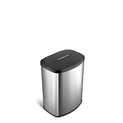Nine Stars the Original Touchless Automatic Motion Sensor Trash Can Papelera, Acero Inoxidable, Plateado