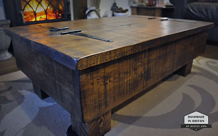 Storage Coffee Table/Wood Chest. Rough Sawn Rustic Pine. 3ft 2 Plank Lid
