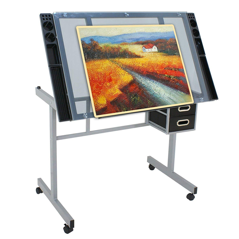 HomGarden Adjustable Drafting Drawing Table Desk Tempered Rolling Glass Top Art Craft Station Desk w/2 Slide Drawers and Castors by HomGarden (Image #3)