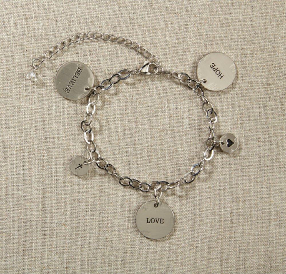 Set of 4 Grateful Heart- Silver Charm Bracelet by AT001