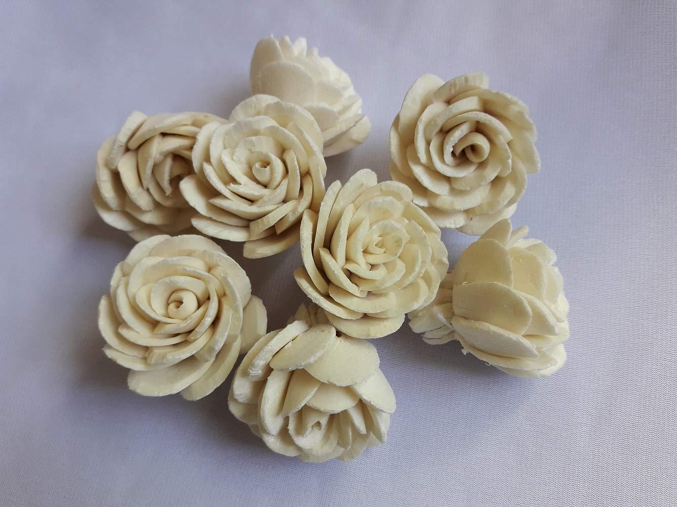 Jikkolumlukka 100 pcs. Rose Flowers Sola Balsa Wood Diffuser Craft Decor Home Fragrance Bouquet Bride Gift 4Cm by Jikkolumlukka