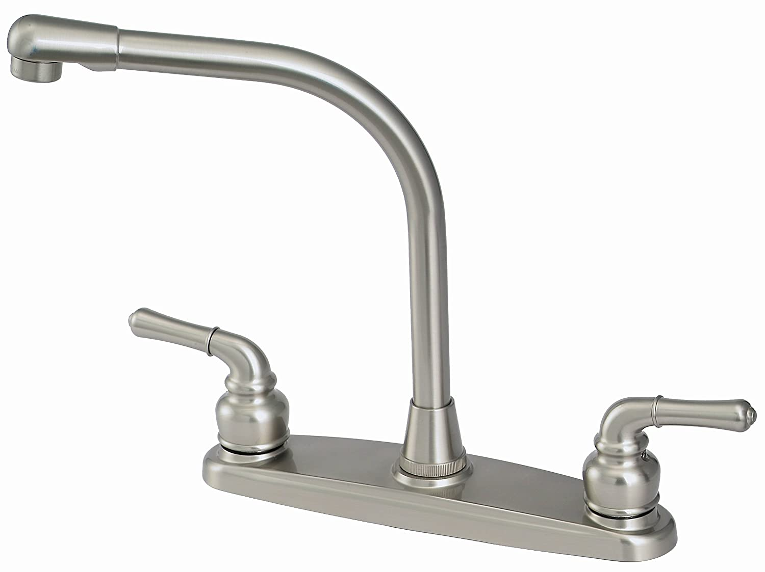 8 Kitchen Deck Faucet, Satin Nickel Finish, Washerless – By Plumb USA