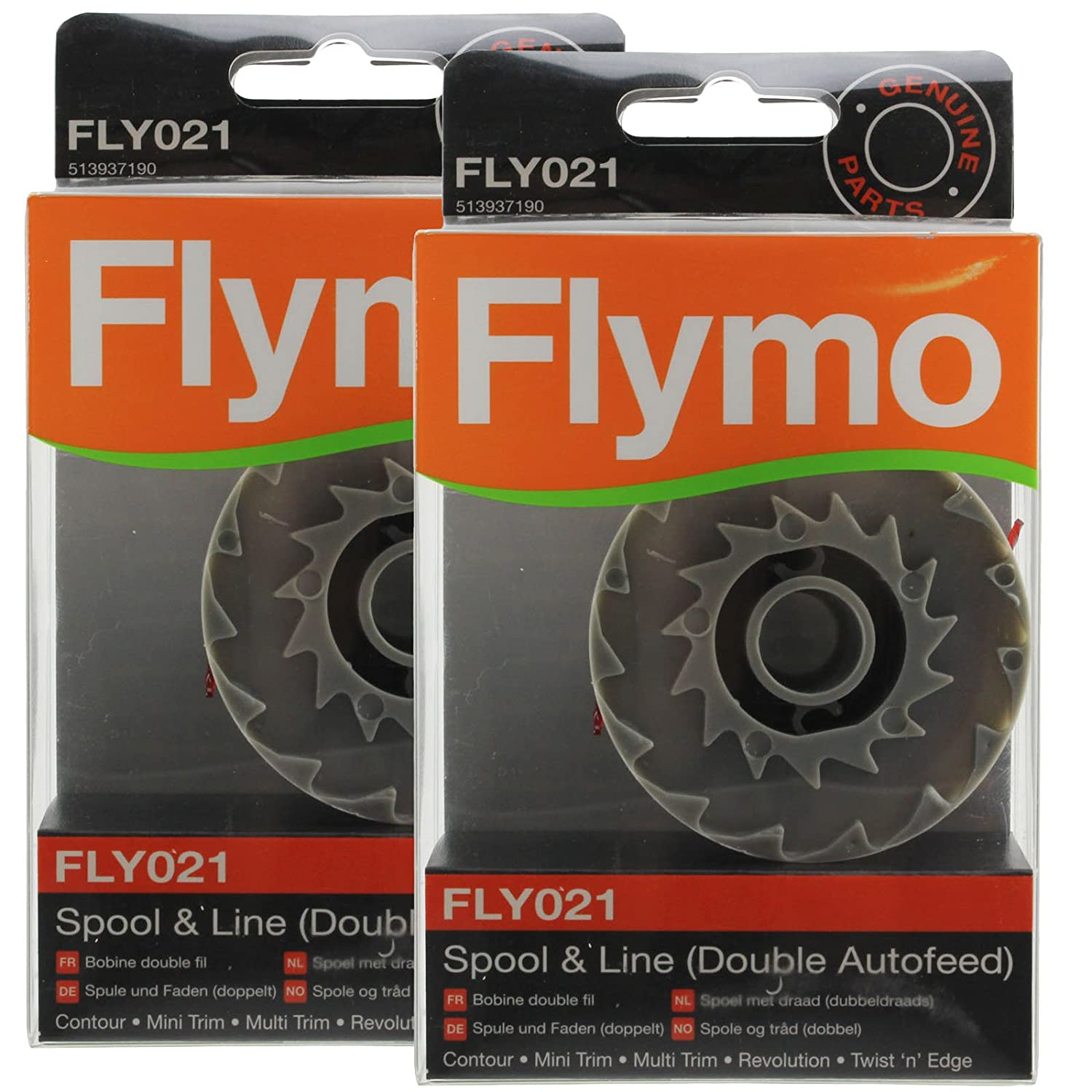 Genuine FLYMO Revolution 2000 2300 Strimmer Spool & Line Double Autofeed (Pack of 2, FLY021)